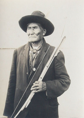 "Charles Henry Carpenter - Geronimo at the Louisiana Exposition of 1904, St. Louis Missouri Original Silver Gelatin Print, c. 1904, 9 "" x 7 """