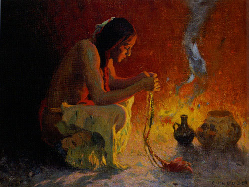 E. Irving Couse (1866-1936) Crouching Indian by a Fire, c. 1910, Oil on Canvas, 11.375 x 15.375, Denver Art Museum, Collectors' Choice benefit fund, Fig 13