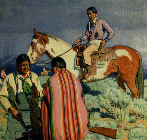 E. Martin Hennings (1886-1956), Rabbit Hunt, c. 1935, Oil on Canvas, 35.5 x 39.5, Denver Art Museum, Harmsen Collection, Fig. 3