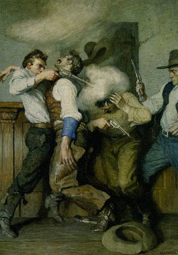 Newell Convers Wyeth (1882-1945) Gunfight, 1916, Oil on Canvas, 33.5 x 24.625, Denver Art Museum, Harmsen collection, Fig 14