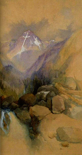 Thomas Moran (1837-1926) Mount of the Holy Cross, 1894, Watercolor on paper, 13.75 x 24, Denver Art Museum, anonymous gift, Fig 10