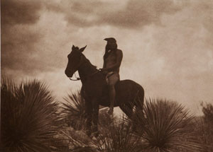 "Edward Sheriff Curtis, The Scout, Framed Photogravure, circa 1906, 13.75"" x 17"""