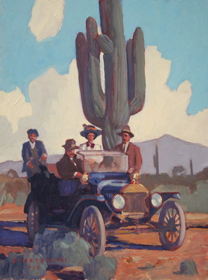 Dennis Ziemienski, Arizona Sunday Drive, Oil on board, 16 x 12 inches