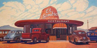 Dennis Ziemienski, El Sombrero Restaurant, Oil on canvas, 24 x 48 inches
