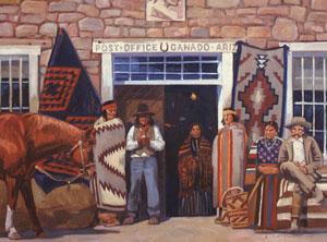 """Dennis Ziemienski, Post Office - Ganado, Ariz., Oil on Canvas, 30"""" x 40"""""""
