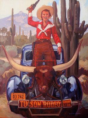 Dennis Ziemienski, Tucson Rodeo, Oil on Canvas, 48 x 36 inches