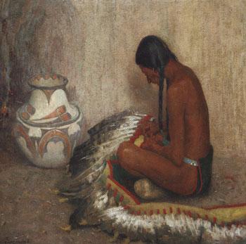 "E. Irving Couse (1866-1936), Mending the War Bonnet, 1910, oil on canvas, 30"" x 36"""