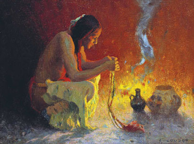 "E. I. Couse, Crouching Indian by a Fire, Oil on Canvas, 11.375"" x 15.375"" Denver Art Museum, Collectors' Choice Benefit Fund, 1986"