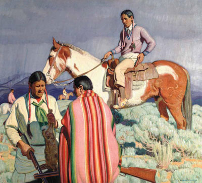 "E. Martin Hennings, Rabbitt Hunt, Oil on Canvas, 35.5"" x 39.5"" Denver Art Museum, William Sr. and Dorothy Harmsen Collection"