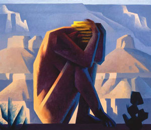 """Ed Mell, Canyon Figure, Oil on Linen, 20"""" x 20"""""""