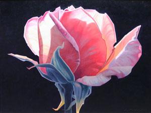 """Ed Mell, Carmine Rose, Oil on Canvas, 30"""" x 40"""""""