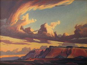 """Ed Mell, Western Cliffs, Oil on Linen, 30"""" x 40"""""""