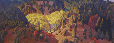 """Ernest Blumenschein (1874-1960), Autumn Landscape, NM, c. 1925, oil on canvas, 10.5"""" x 25.5"""""""