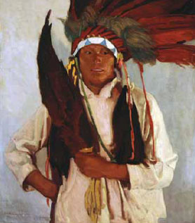 Ernest L. Blumenschein, Eagle Fan, 1915 Oil on Canvas, Denver Art Museum, William Sr. and Dorothy Harmsen Collection