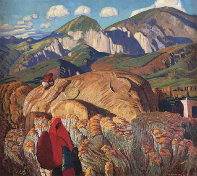"Ernest L. Blumenschein, Haystack, Taos Valley, Oil on Canvas 24"" x 27"" Courtesy of the Fred Jones Jr. Museum of Art, The University of Oklahoma, Norman, Given in memory of Roxanne P. Thams by William H. Thams, 2008"
