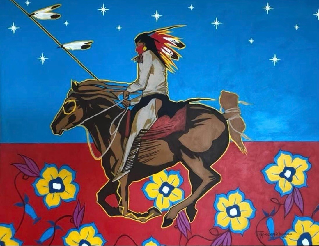Eric Tippeconnic, 'Comanche Vanguard,' 36 x 48, 2021=