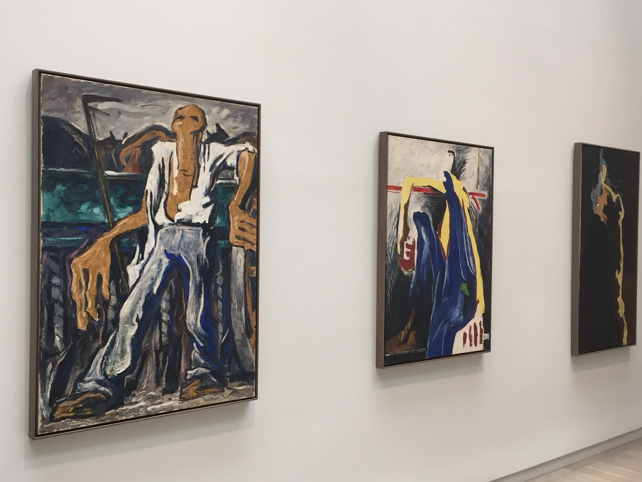 Clyfford Still Museum wall with three paintings