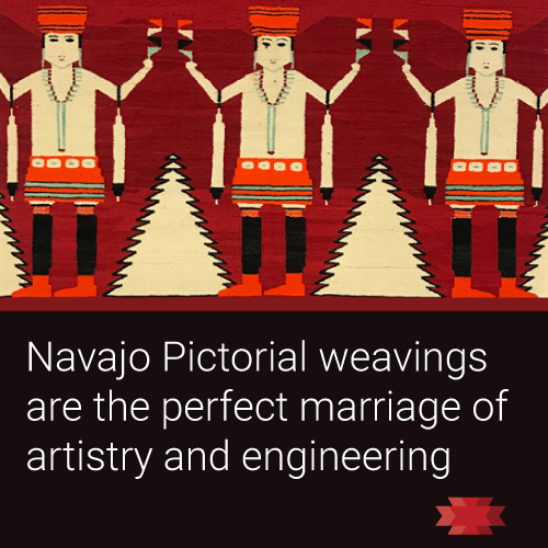 Read the Essential West article on the pictorial motifs present in Navajo weavings