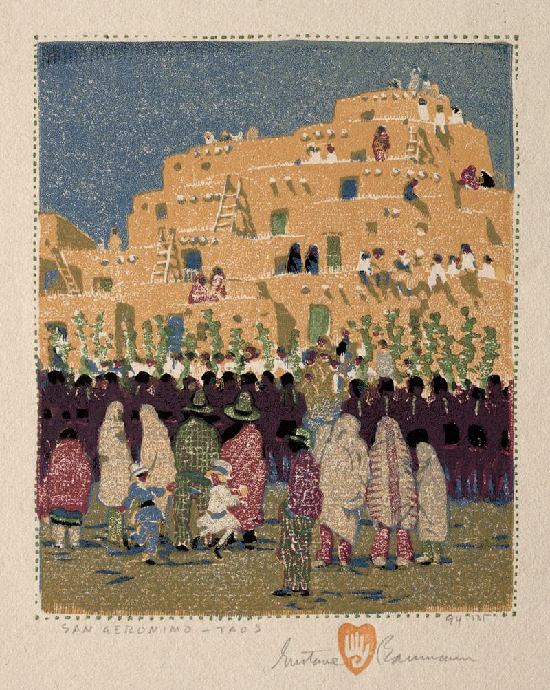San Geronimo Taos, 1924 - Gustave Baumann (1881–1971) Color woodcut; image: 18.2 x 15.2 cm