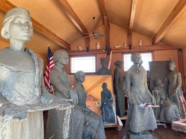 Jane DeDecker 'Ripples of Change' sculpture figures, Left to Right, Laura Cornelius Kellog, Harriet Tubman, Martha Coffin Wright (seated), Sojourner Truth