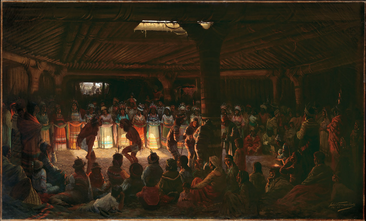 Dance in a Subterranean Roundhouse at Clear Lake, California (1878) by Jules Tavernier.