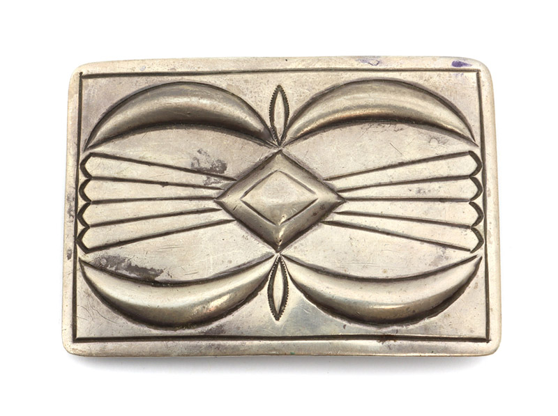 "Navajo Sterling Silver Belt Buckle c. 1957, 2.25"" x 3.25"" by Kenneth Begay"