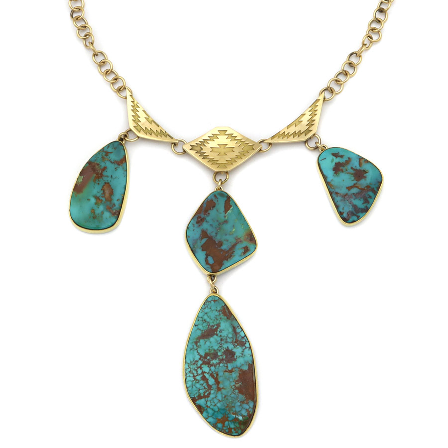 Mark Sublette collection turquoise and gold necklace