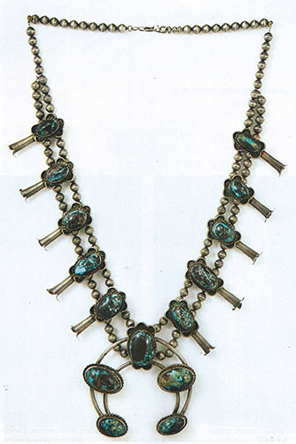 "Navajo Bisbee turquoise and silver squash blossom necklace, ca. 1950, 29"" long, naja is 3.5""x3.5"""