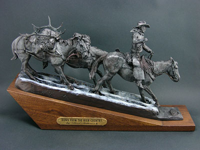 "Fred Fellows, Down from the High Country, Bronze Edition of 50, 11"" x 19"" x 5"""