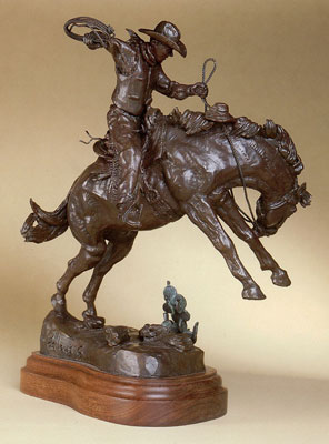 "Fred Fellows, Riding Out a Bad Investment, Bronze Edition of 100, 15"" x 13"" x 12""  Monumental Edition of 15, 61"" x 59"" x 60"""