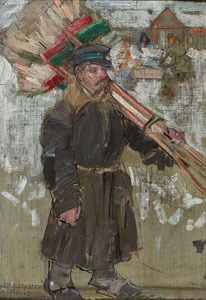"Leon Gaspard, Chimney Sweep, Oil on linen, 9"" x 6.25"""