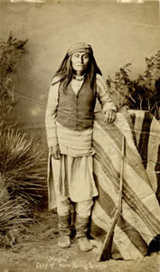 "Ben Wittick (1845-1903) Mangas, Chief of Warm Springs Apaches, c. 1890, 7.25"" x 4.25"""