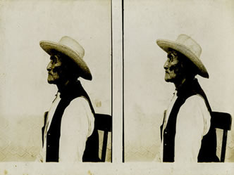 "Geronimo Stereoview at Fort Sill, Oklahoma, c. 1890, 7.5"" x 3.5"""