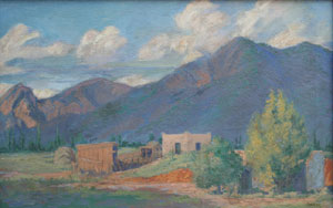 "Ralph Goltry, Adobe Home, Oil on Canvas, c. 1930, 18"" x 28"""