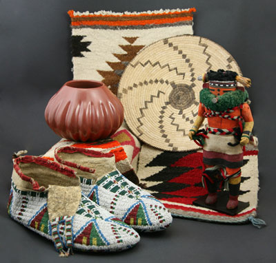 "A lovely selection of Native American arts:  Helen Shupla (1928-1985) of Santa Clara Pueblo, NM, red melon jar, c. 1980, 4.5"" x 6.25""  Zuni Nahalish Corn Daner Kachina, c. 1930, 9"" x 3: x 2.5""  Pima Tray with Lightning Design, c. 1940, 10.75""  Arapaho Ceremonial moccasins, c. 1890"
