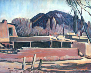 "Arthur E. Haddock, Santa Fe Street, April 1932, Oil on Canvas, 16"" x 20"""