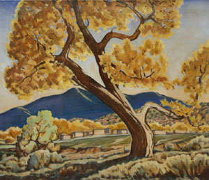 "Arthur Earl Haddock, Cottonwood, Oilon Canvas, Circa 1940, 26"" x 30"""