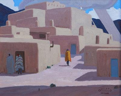 "Logan Maxwell Hagege, A Pueblo Afternoon, Oil on Linen, 16"" x 20"""