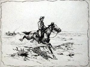 "Herman Wendelborg Hansen, Boss of the Ranch, Etching, 5"" x 7"""