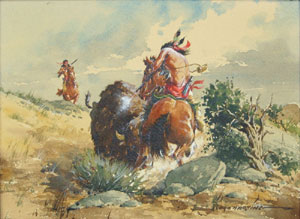 "Lloyd Harting, Buffalo Attack, Watercolor, 9"" x 12"""