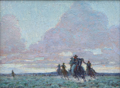 """W. Herbert Dunton (1878-1936) The End of the Day, c. 1915, oil on canvas, 12"""" x 16"""""""