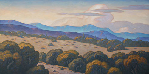 "Howard Post - Behind a Mountain, Oil on Canvas, 42"" x 84"" Tucson Federal Courthouse, AZ"