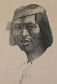 """Joseph Imhoff, Indian Portrait, Conte Crayon, 10"""" x 14.5"""""""