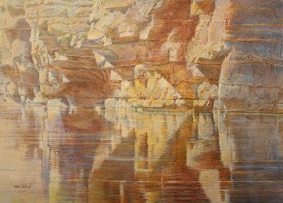 "Merrill Mahaffey, Intersecting Reflections, Acrylic on Canvas, 46"" x 64"""