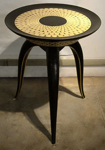 "Kevin Irvin, Sunflower Side Table, 20"" x 22"" x 22""  Black dyed Maple and yellow Alaskan Cedar, Edition of 8"