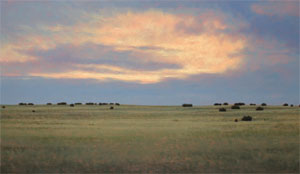 """Jeff Aeling, Sunset West of Lamy, New Mexico, Oil on Panel, 18"""" x 30"""""""