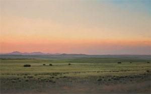 "Jeff Aeling, Afterglow, Cerro Pellon, New Mexico, Oil on Board, 18"" x 30"""