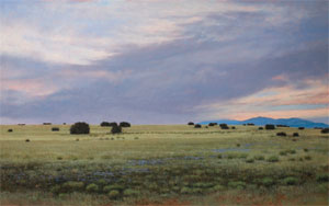 """Jeff Aeling, Twilight West of Lamy, New Mexico, Oil on Panel, 30"""" x 48"""""""