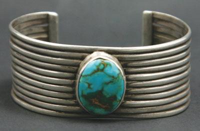Navajo Ingot Silver and Blue Gem Turquoise Bracelet   c. 1920   Size 6.75