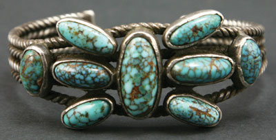 Navajo Burnham Turquoise and Silver Bracelet   c. 1920   Size 6.75
